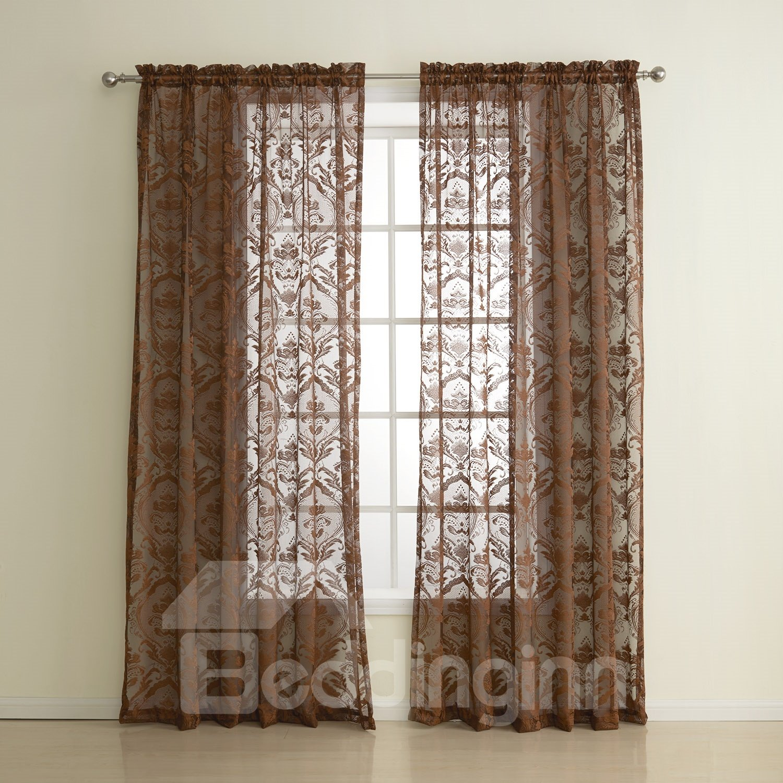 European Classic Wonderful Two Pieces Custom Sheer Curtain
