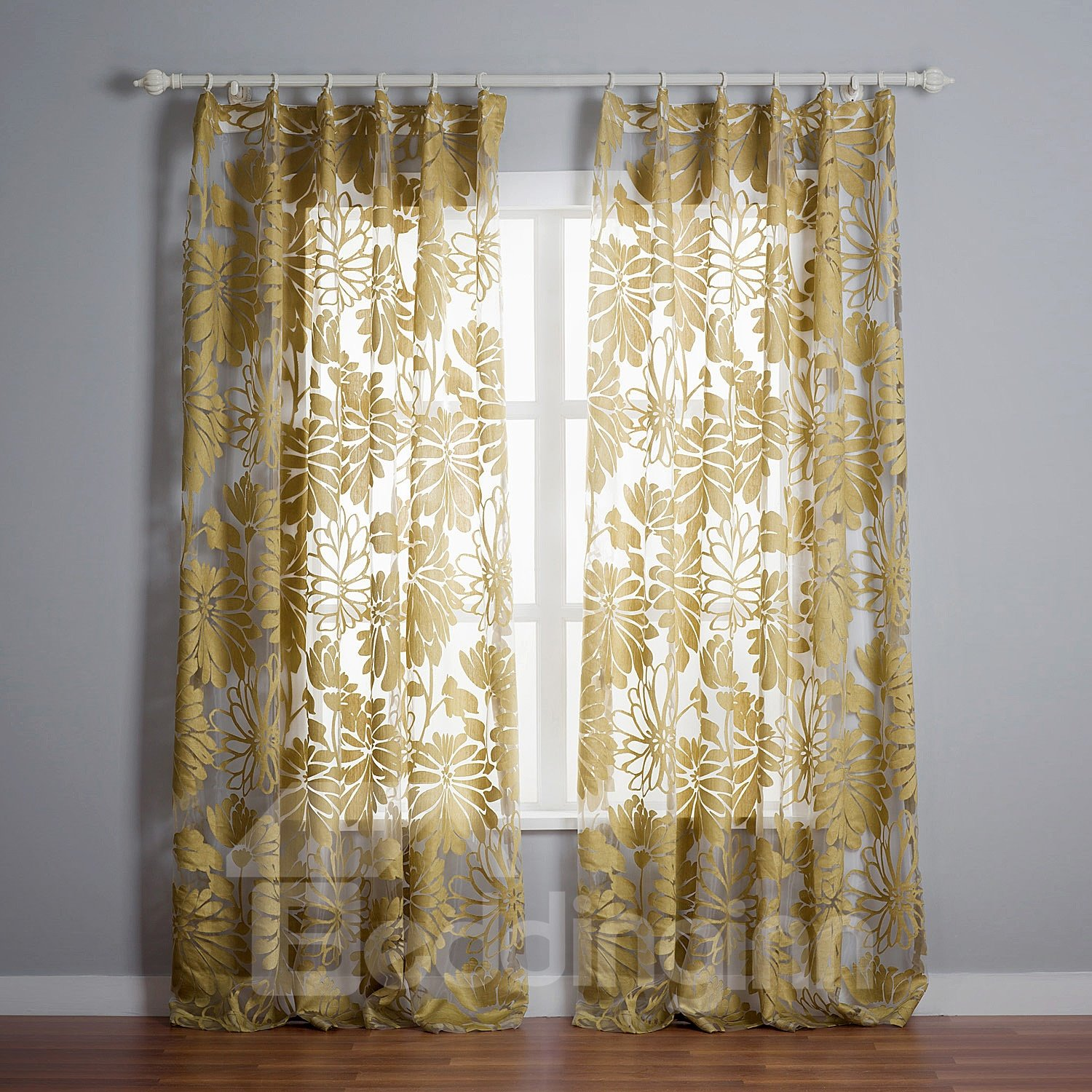Stylish Botanical Pattern Custom Made Sheer Curtain