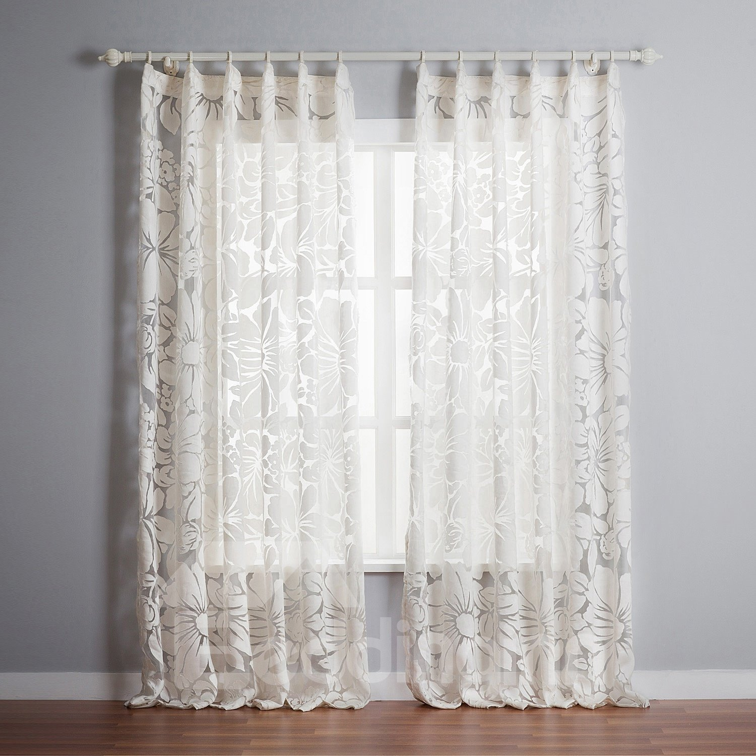 Top Quality Graceful White Polyester Custom Sheer Curtain