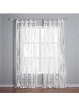 Concise White Lattice Pattern Custom Sheer Curtain