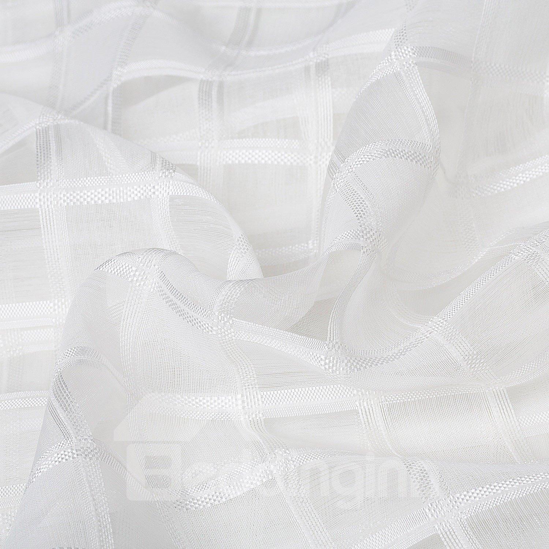 Concise White Lattice Pattern Custom Sheer Curtain
