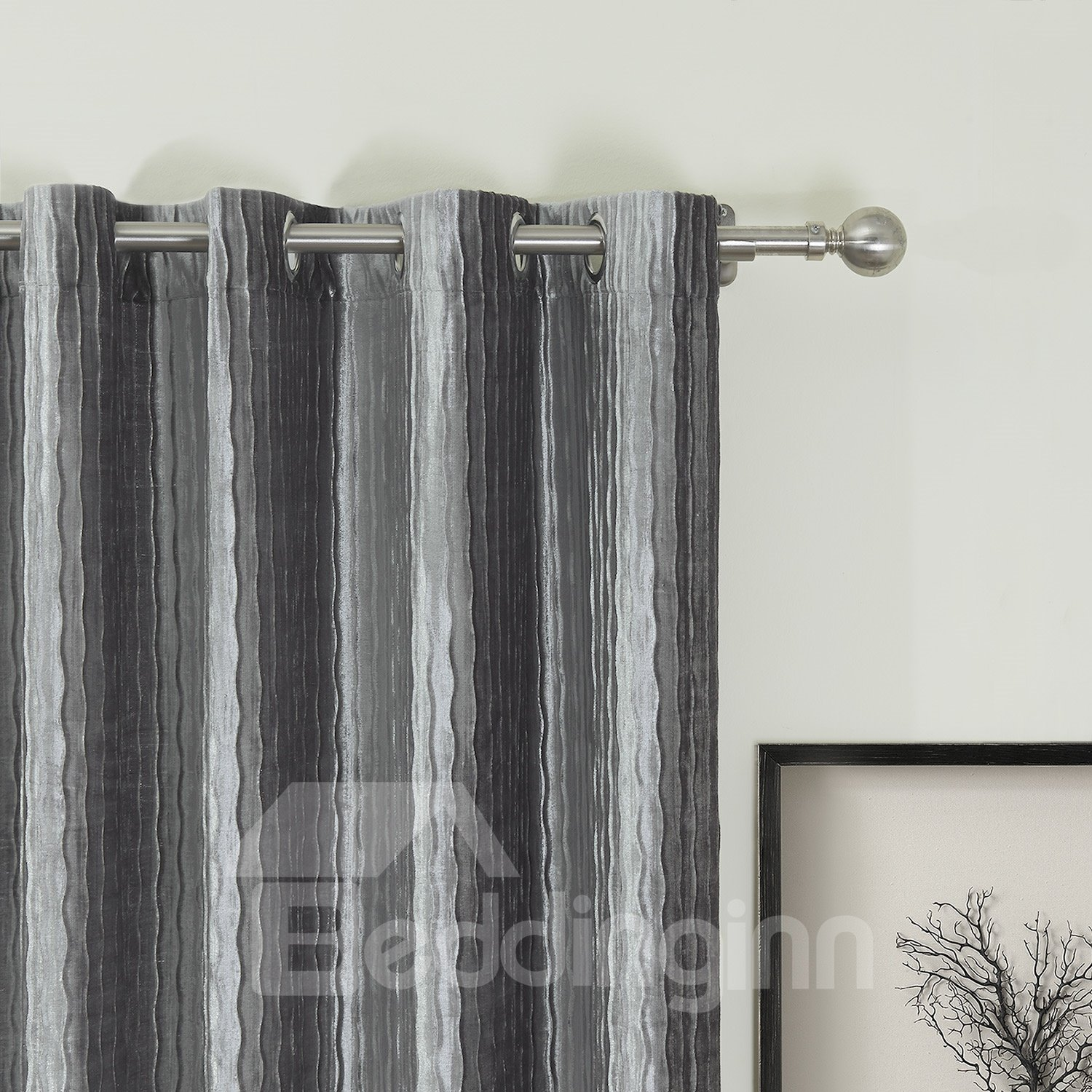 New Style Classic Gray Custom Curtain with Lining