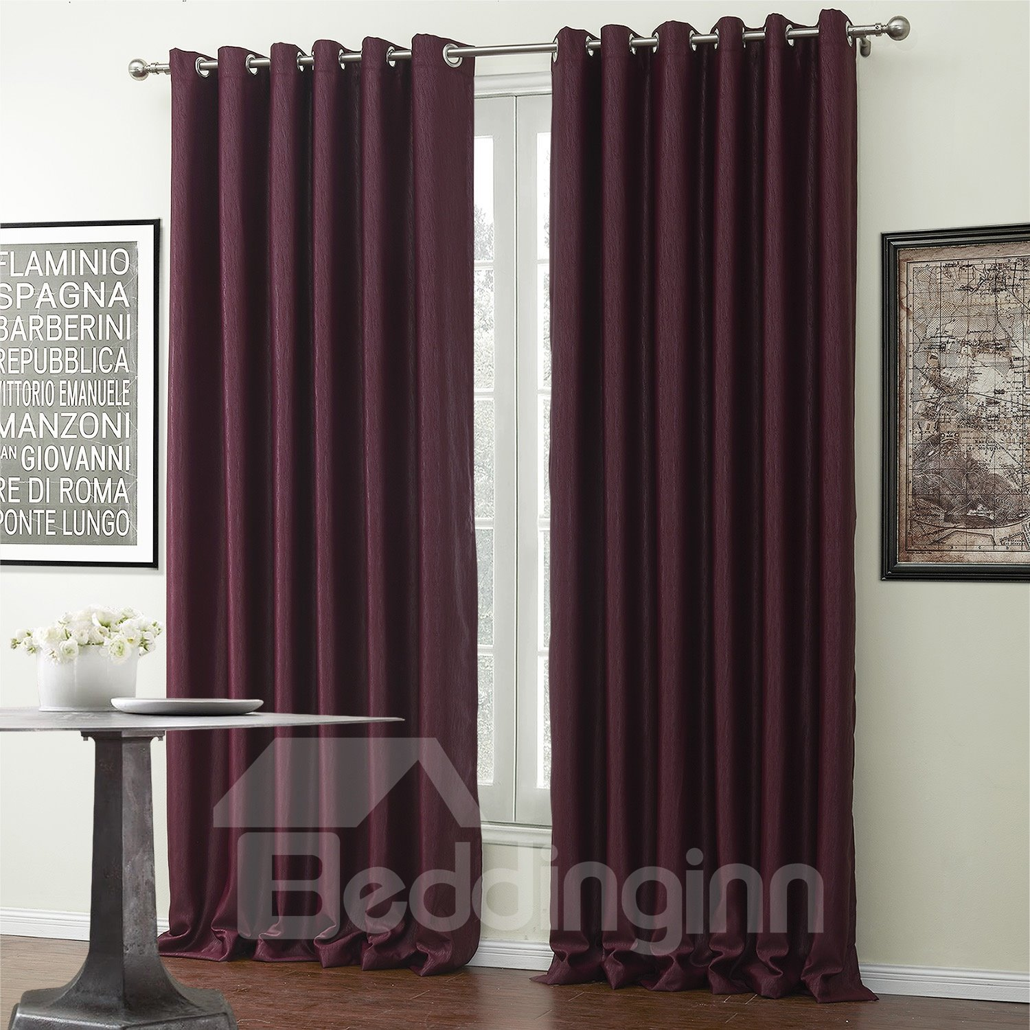 High Density Fantastic Wine Red Custom Made Curtain