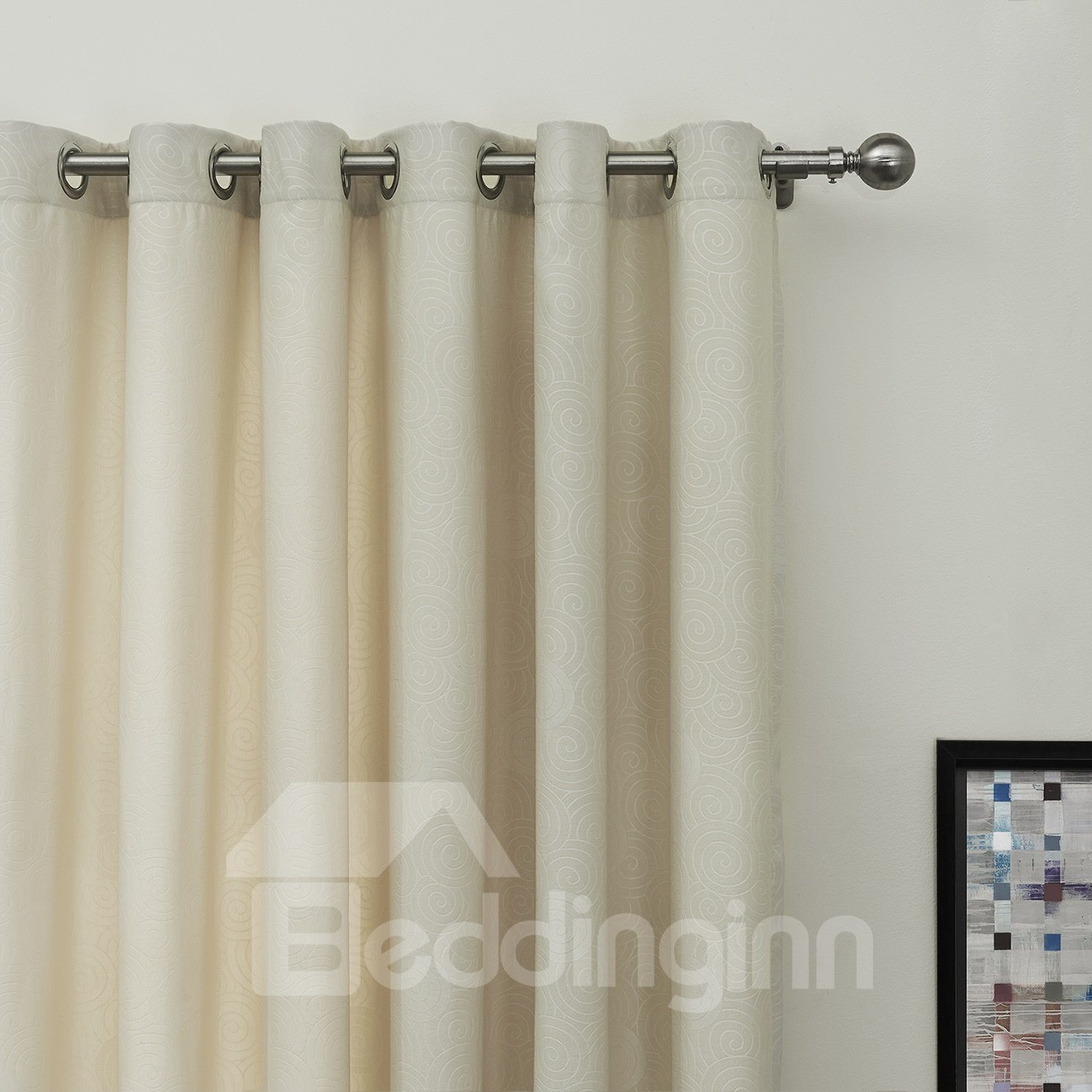 Half Shading Beige Two Sideds Custom Curtain