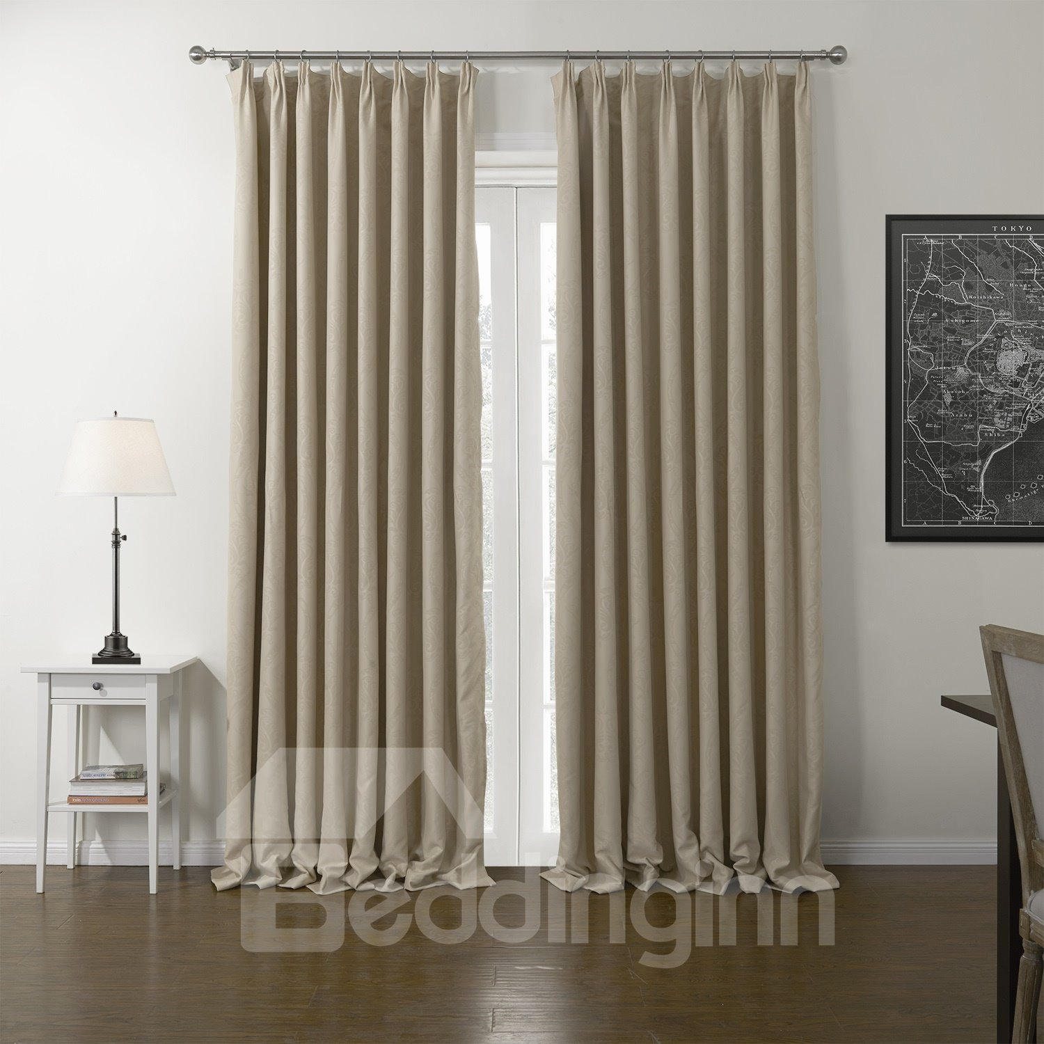 High density shading graceful beige custom curtain Beige curtains