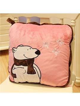 Super Cool Polar Bear Wearing Scarf Pillow and Blanket