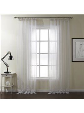 Concise Jacquard Leaves Graceful White Custom Sheer Curtain