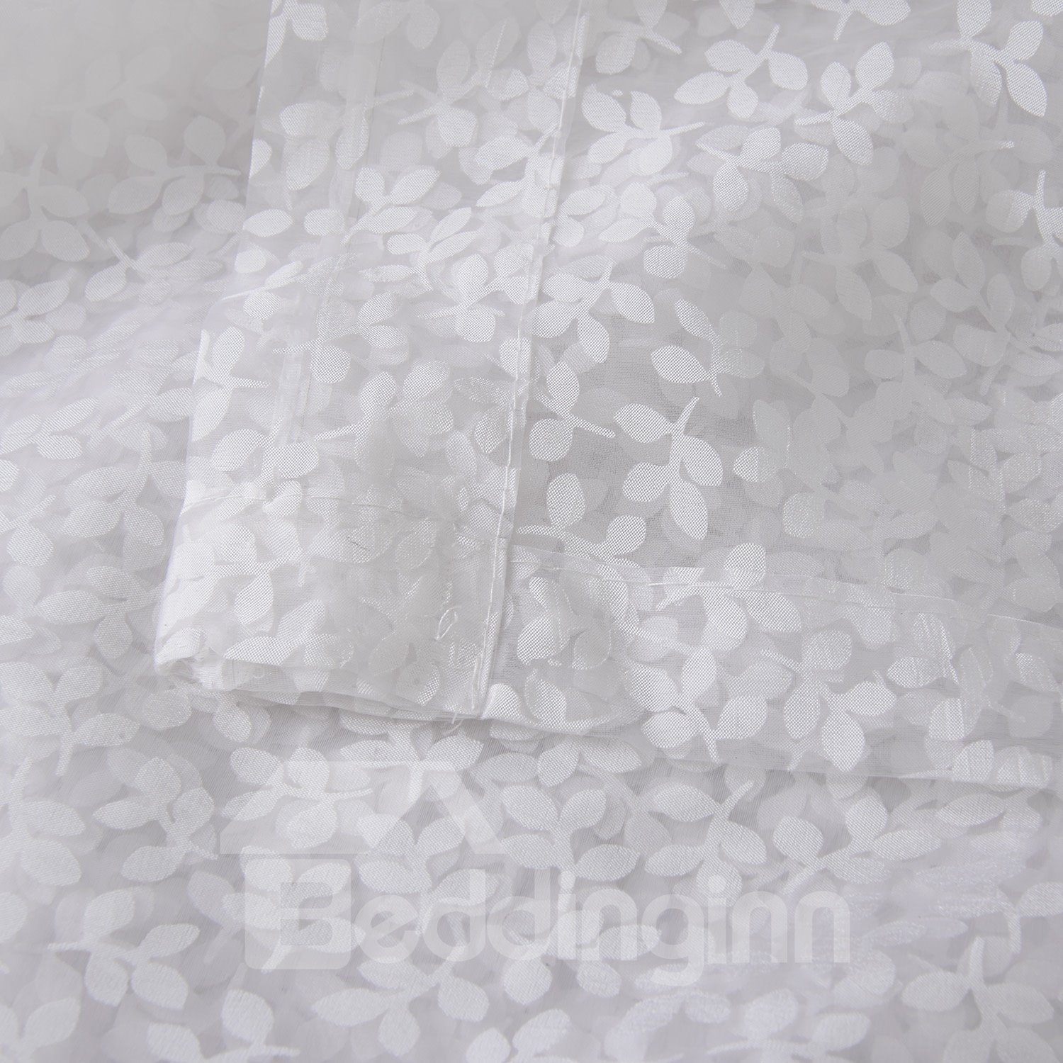 Concise Jacquard Leaves Graceful White Custom Sheer Curtain