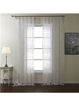 New Flower Pattern Pretty White Custom Sheer Curtain