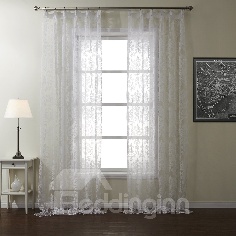 new flower pattern pretty white custom sheer curtain. Black Bedroom Furniture Sets. Home Design Ideas