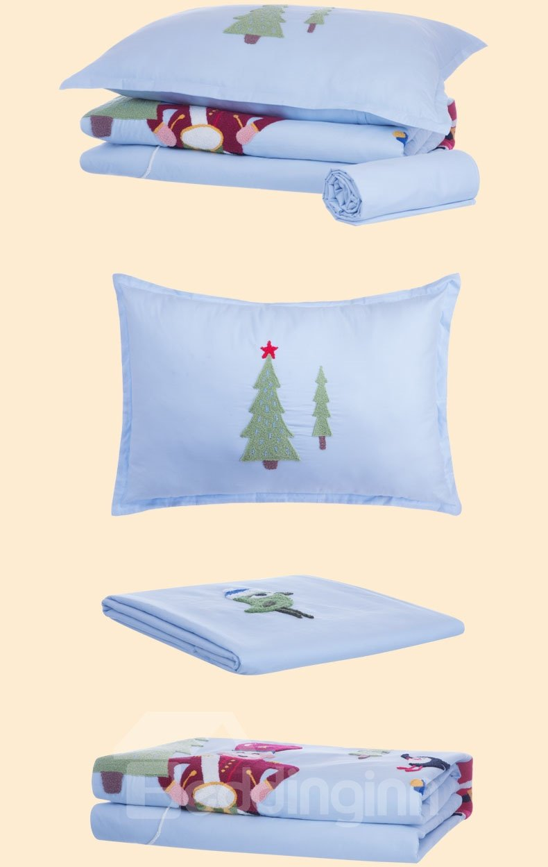 Refreshing European Style Santa Claus and Christmas Carol Embroidery 4 Piece Bedding Set