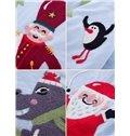 Refreshing European Style Santa Claus and Christmas Carol Embroidery 4 Piece Bedding Set