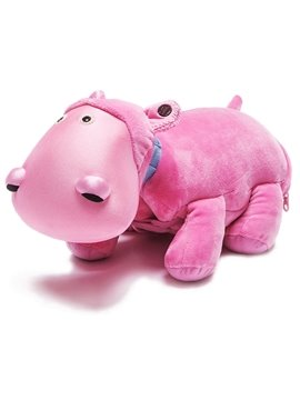 Creative Pink Hippopotamus Shape Pattern Pillow and Blanket