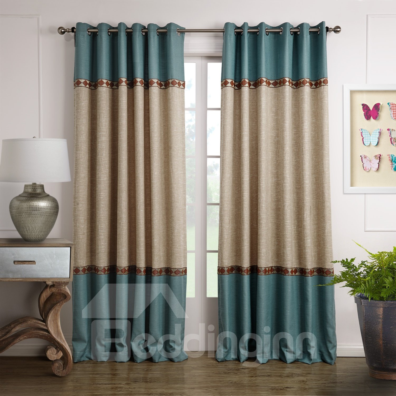 Fancy blue and beige joint color decorative border design for Curtains and drapes