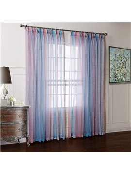 Pretty Blue and Pink Transparent Yarn Custom Sheer Curtain