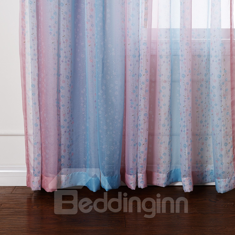 Pretty Blue and Pink Transparent Yarn Custom Sheer Curtain