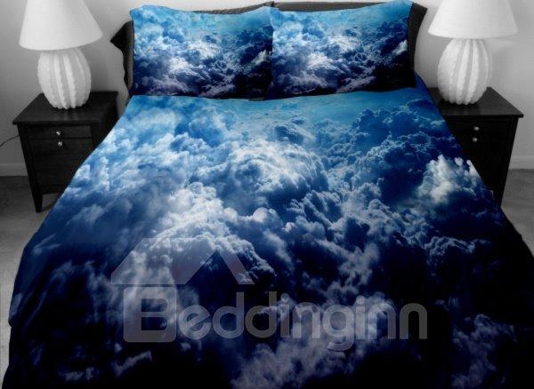 Dark Blue Surging Clouds Print 4-Piece Duvet Cover Sets