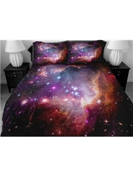 Gorgeous Shining Purple Star Print 4-Piece Duvet Cover Sets