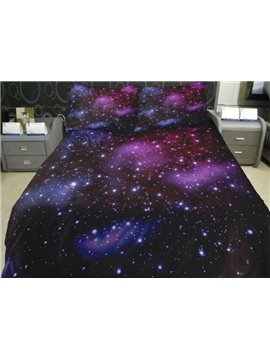 Dreamlike Purple Nebula Print 4-Piece Duvet Cover Sets