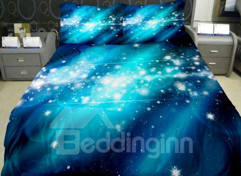 Bright Blue Nebula Print 4-Piece Duvet Cover Sets 11000954