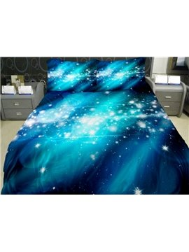 Bright Blue Nebula Print 4-Piece Duvet Cover Sets