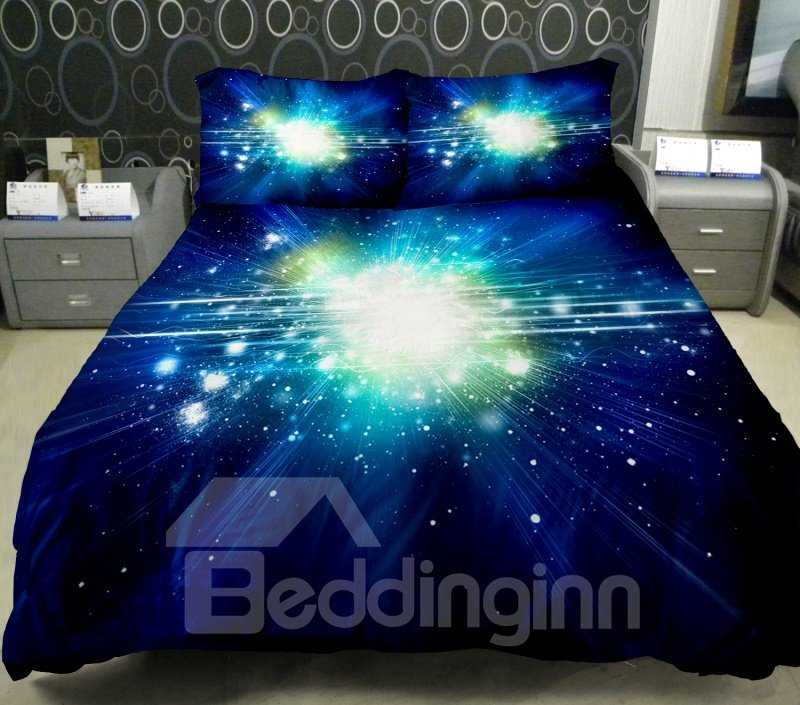 Dazzling Star With Dark Blue Background Print 4 Piece