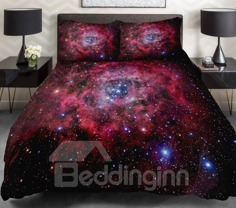 Charming Red Nebula with Shining Star Print 4-Piece Duvet Cover Sets