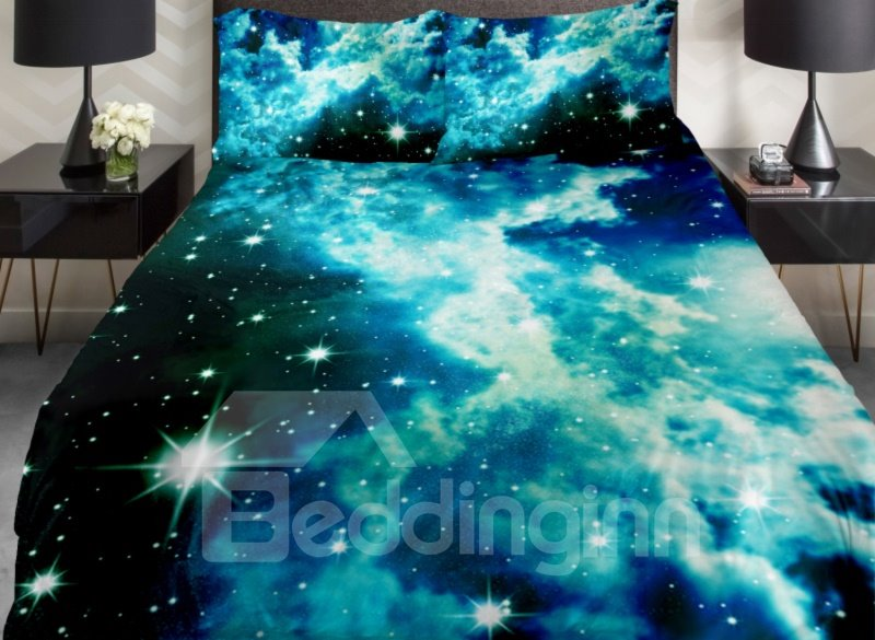 Shining Star and Blue Clouds Print 4-Piece Duvet Cover Sets beddinginn