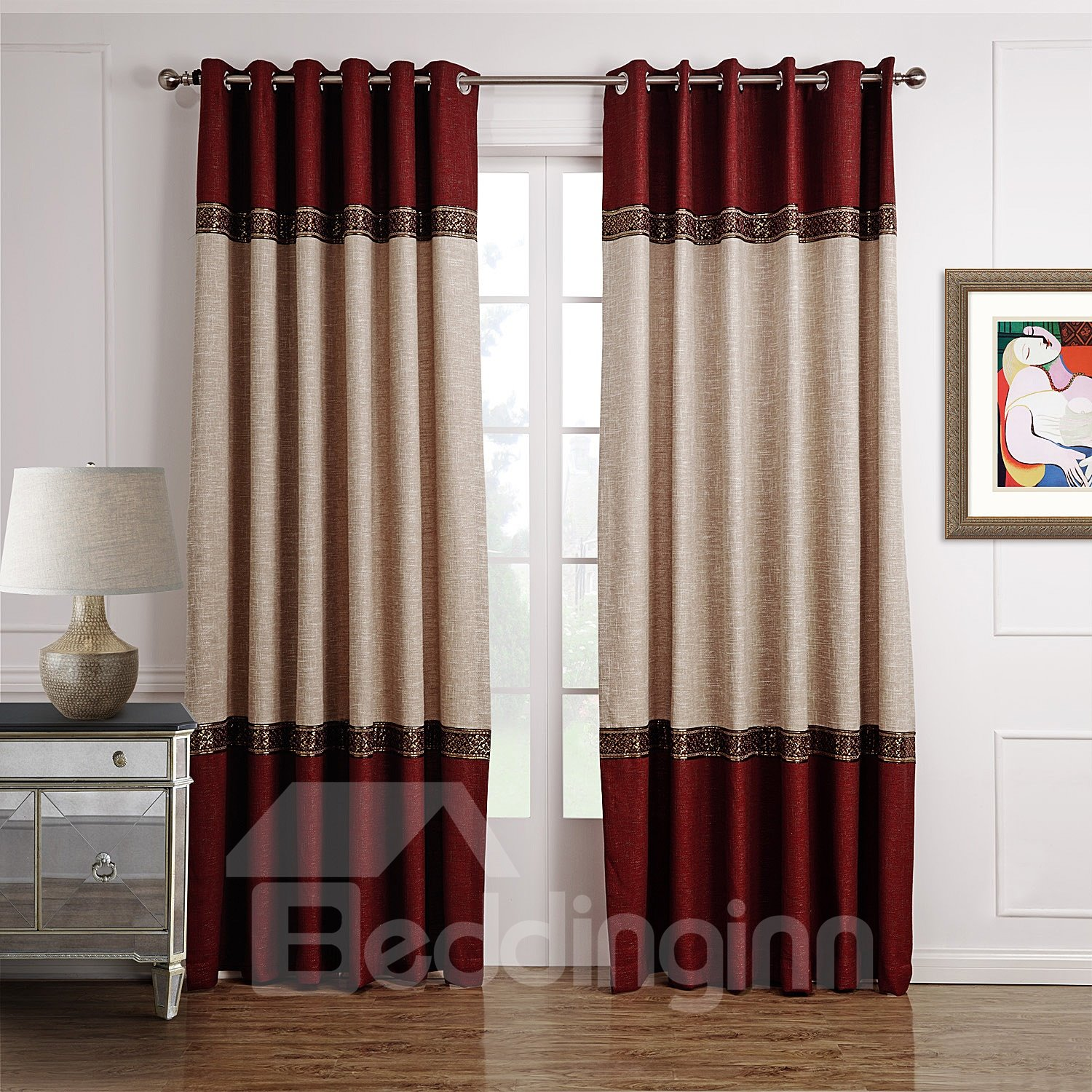 Hot selling fantastic joint color decorative border design Beige curtains