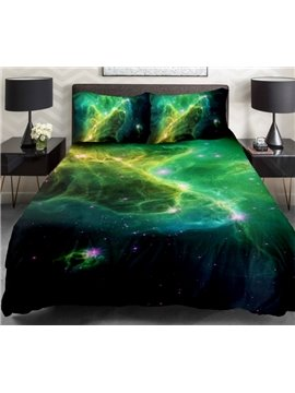 Green Nebula and Shining Star Print 4-Piece Duvet Cover Sets