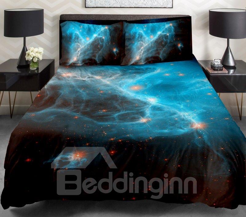Blue Nebula and Orange Color Star Print 4-Piece Duvet Cover Sets