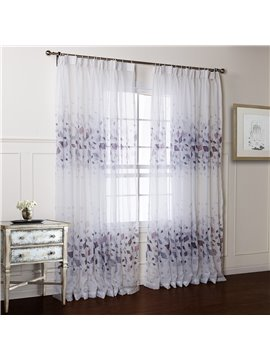 Wonderful Flower Printing Light Gray Custom Sheer Curtain