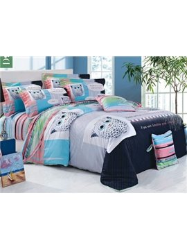High Quality Concise and Cozy Cute Cartoon 4 Piece Bedding Sets