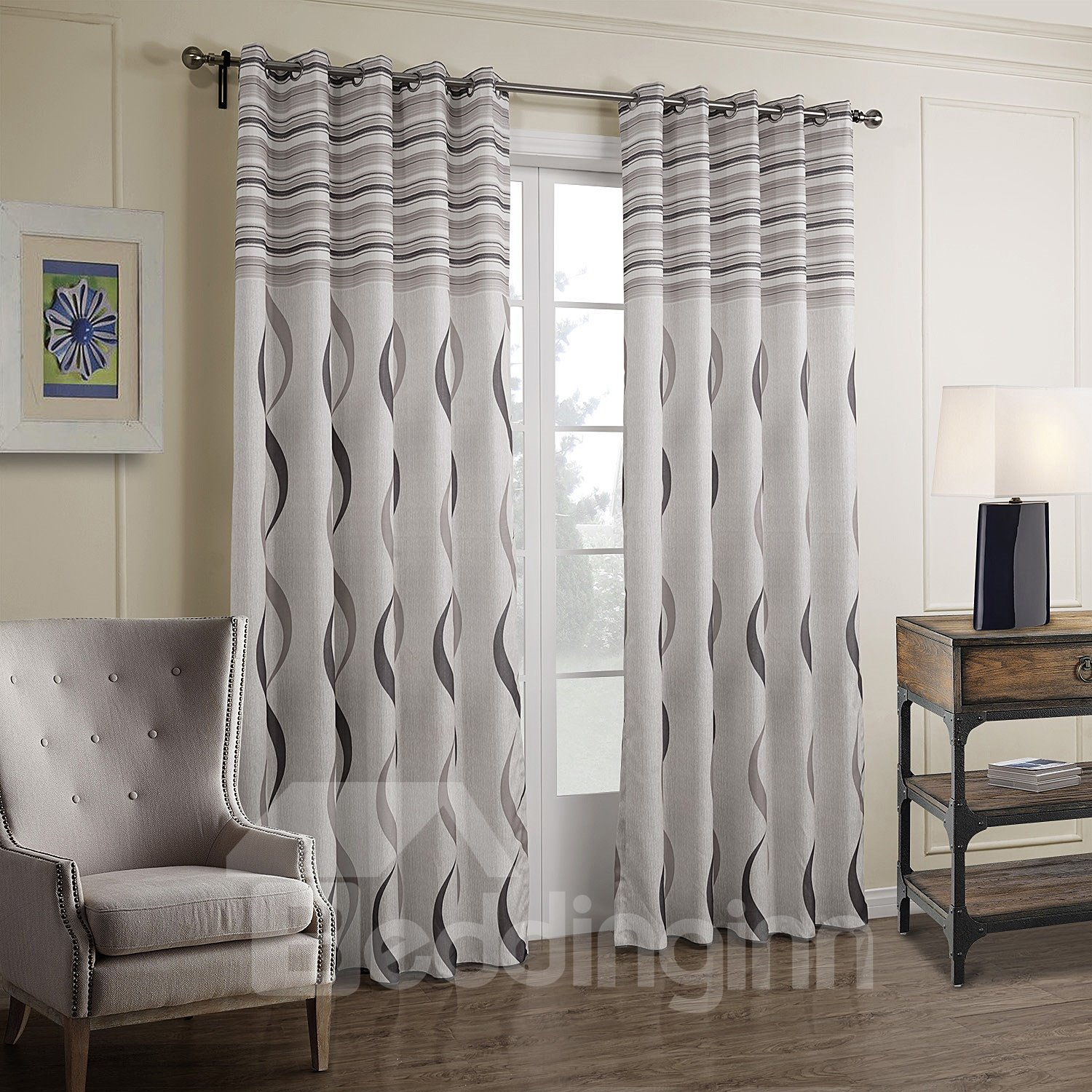 fantastic pretty gray wave pattern custom curtain. Black Bedroom Furniture Sets. Home Design Ideas