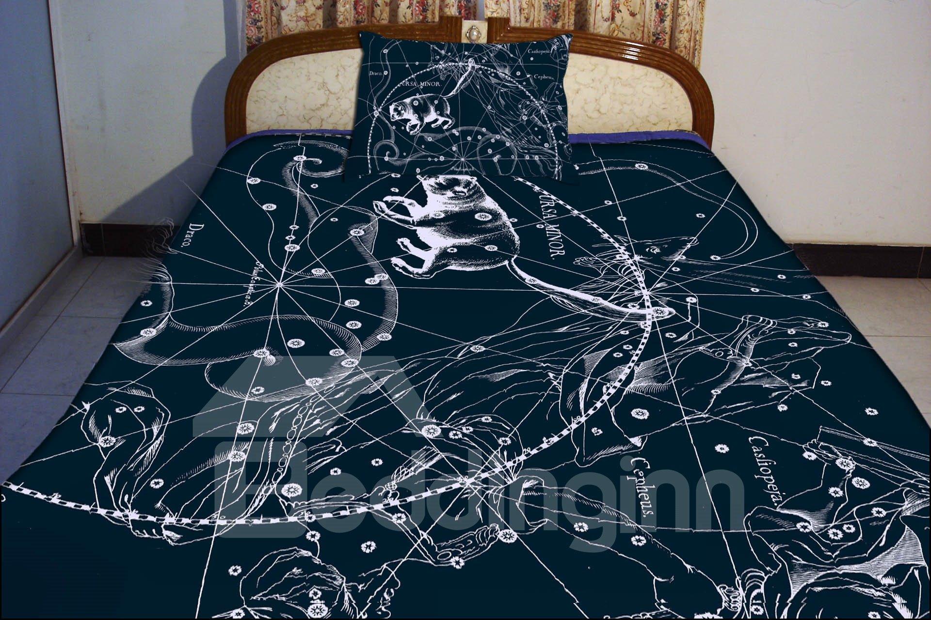 Clear Ursa Minor Print 4-Piece Duvet Cover Sets