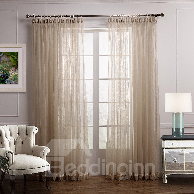 Elegant Concise Plain Solid Color Custom Sheer Curtain