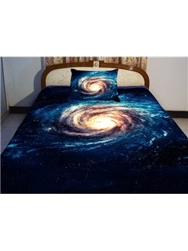 Digital Blue Meteorogram Print 4-Piece Duvet Cover Sets