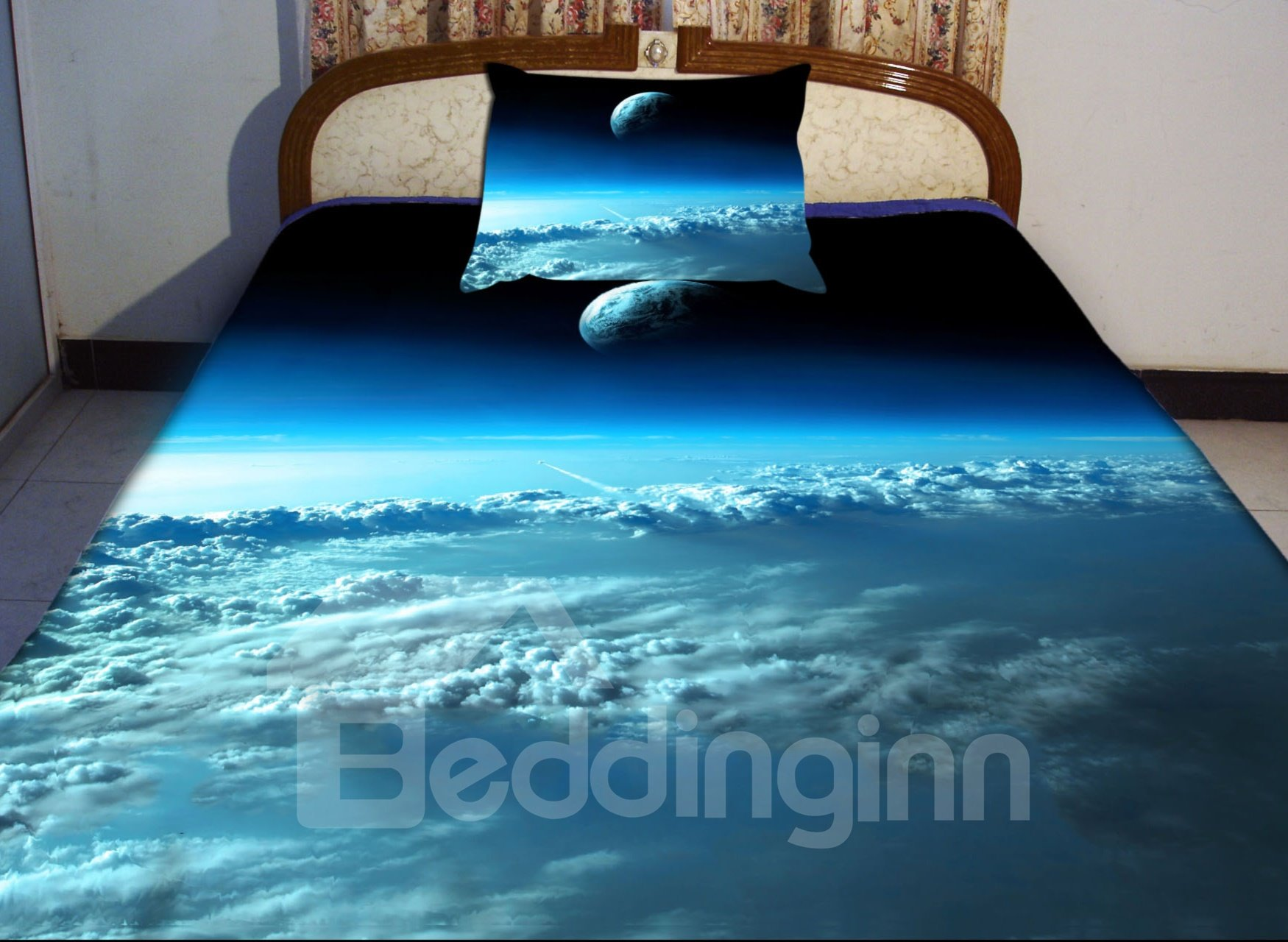 Blue Sky and Star Print 4-Piece Duvet Cover Sets 11001048