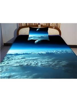 Blue Sky and Star Print 4-Piece Duvet Cover Sets