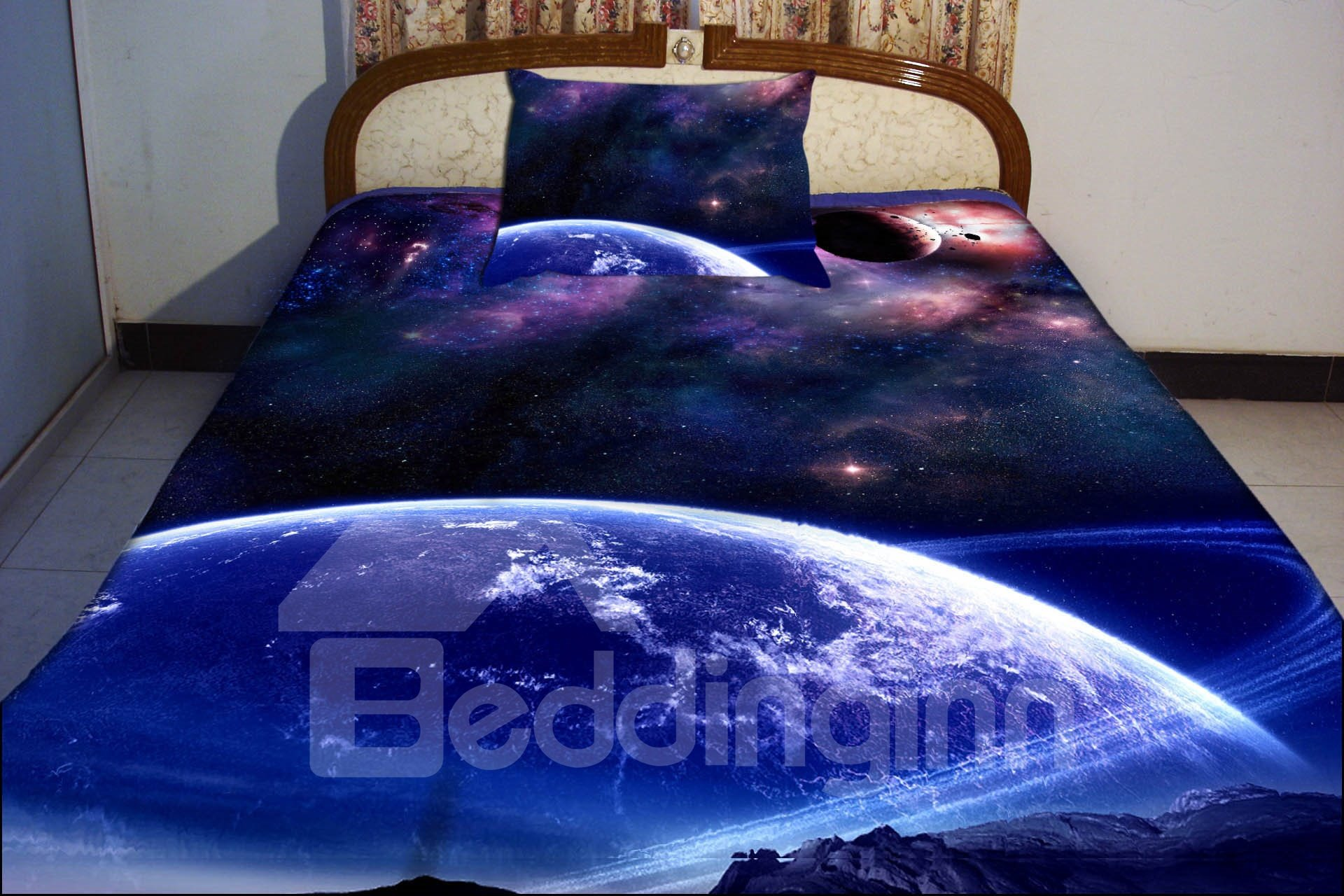 Blue Celestial Body Print 4 Piece Duvet Cover Sets