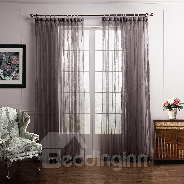 Elegant Deep Gray Plain Color Custom Sheer Curtain
