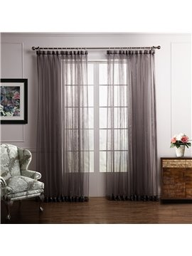 Elegant Deep Gray Plain Color Custom Sheer Curtain