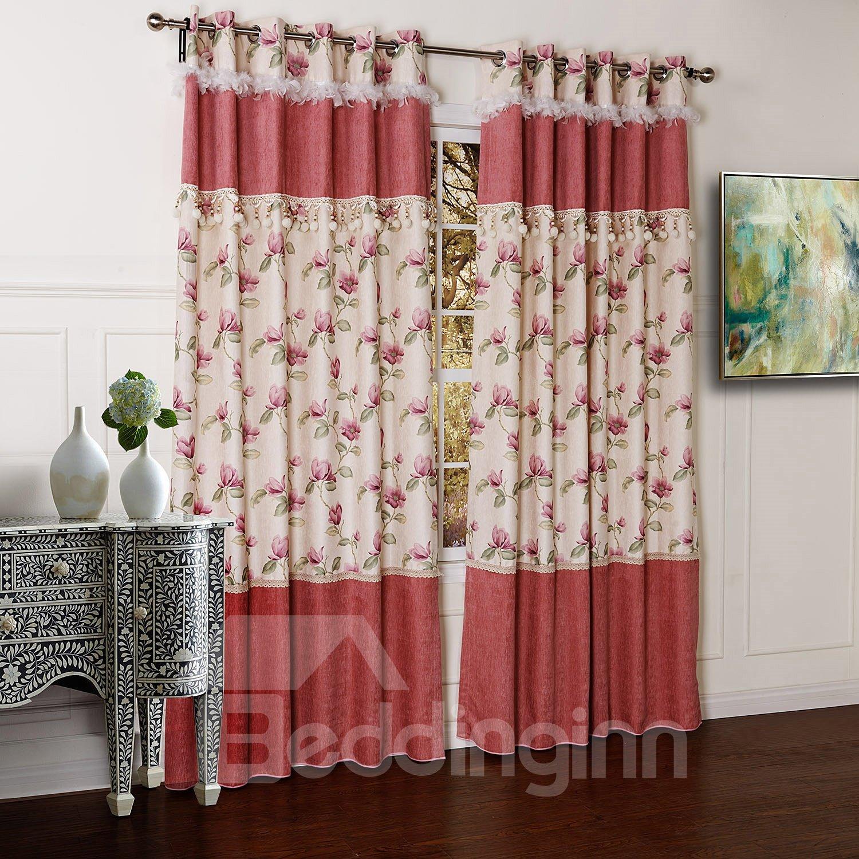 High Quality Pretty Floral Printing Chenille Custom Curtain