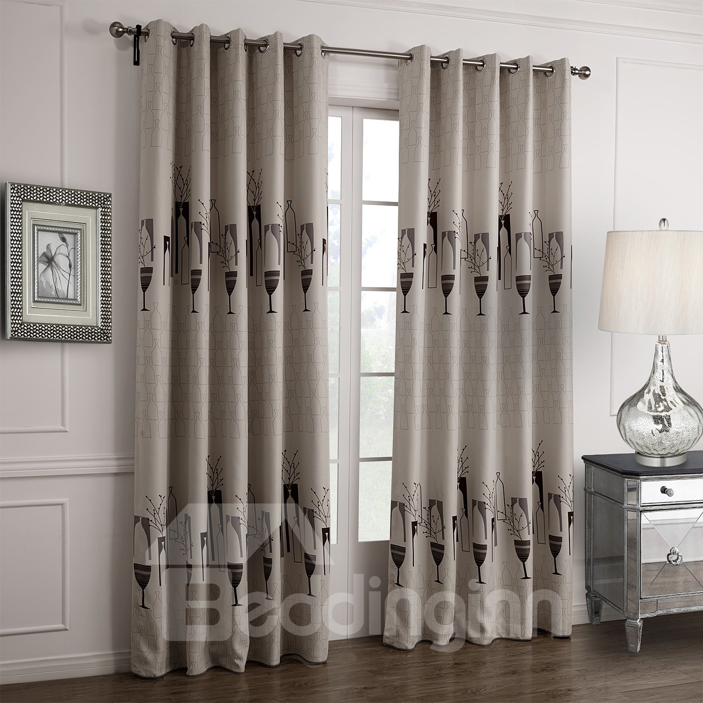 Fantastic Elegant Vase Floral Printing Custom Curtain