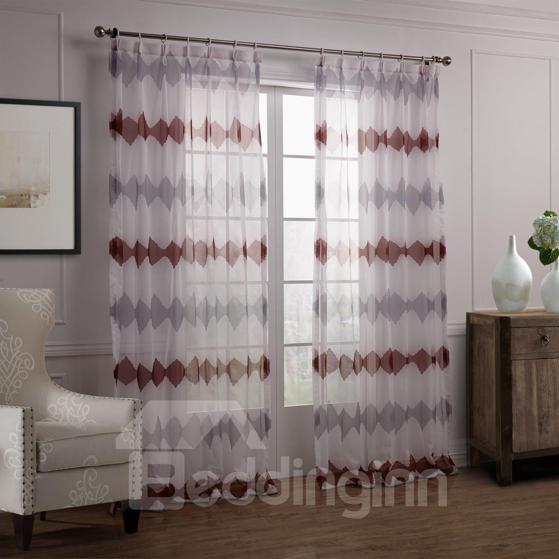 New style red gray diamond printing custom sheer curtain for Cortinas para comedor modernas