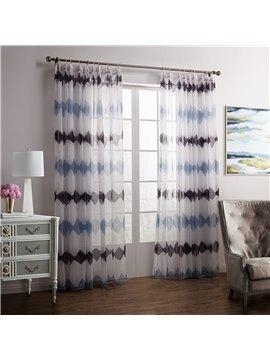 New Style Blue Brown Diamond Printing Custom Sheer Curtain