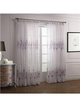 Fantastic Elegant Purple Vase Floral Printing Custom Sheer Curtain