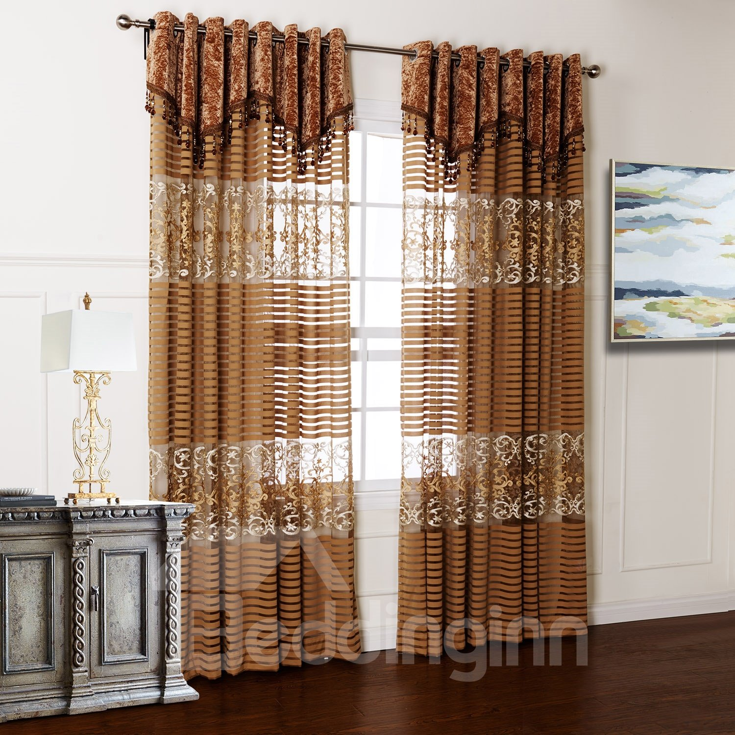 Wonderful Pretty Embroidery Hollow Custom Sheer Curtain