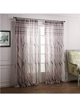 Stylish Pretty Coffee Ribbon Pattern Custom Sheer Curtain