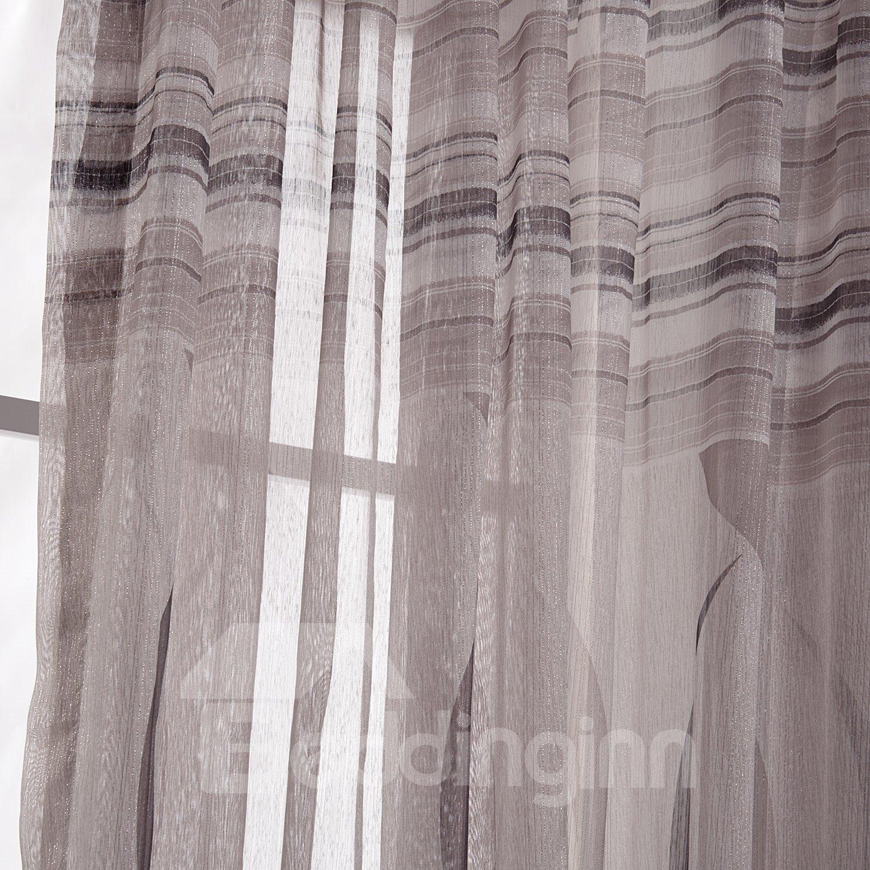 Stylish Pretty Coffee Ribbon Pattern Custom Sheer Curtain